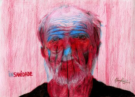 Retrato de Jan Švankmajer - lápis de cor sobre papel